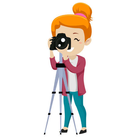 Vector illustration of a girl looking through a digital camera on tripod