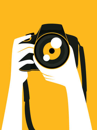 Vector illustration of hand holding a digital camera taking a picture Zdjęcie Seryjne - 83249099