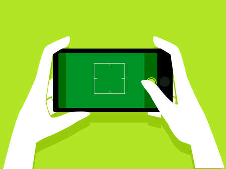 Vector Illustration of Hand Holding a Mobile Phone taking a Picture showing Blank Screen