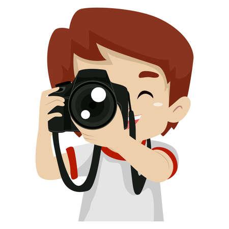 Vectorillustratie van een kind Jongen foto's maken met behulp van een digitale camera Stock Illustratie