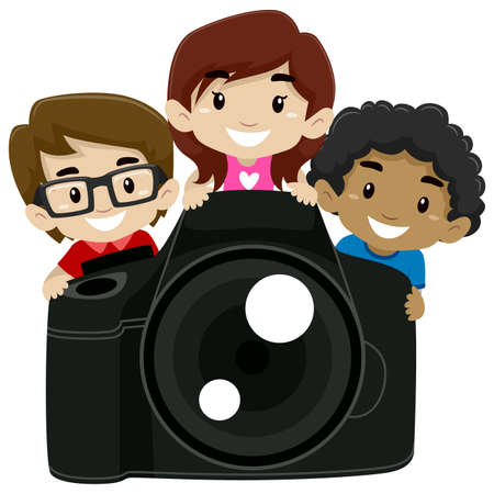 Vector Illustration of Children Standing behind a Big Digital Camera