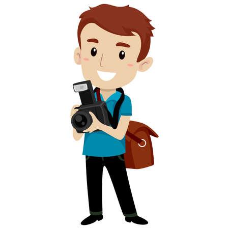 Vector Illustration of Handsome Man holding a Digital Camera wearing a Satchel Bag
