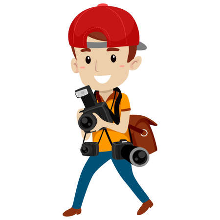 Vector Illustration of Photographer with Different Camera Illustration