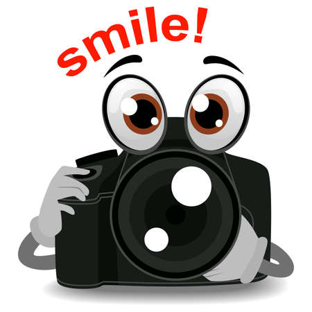 Vector Illustration of Camera Mascot holding Lens Illustration