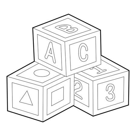 Coloring Book Outline of Toy Blocks