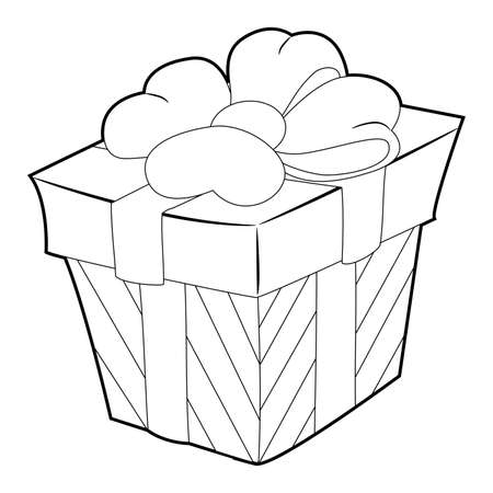 Coloring Book Outline of Gift with Ribbon