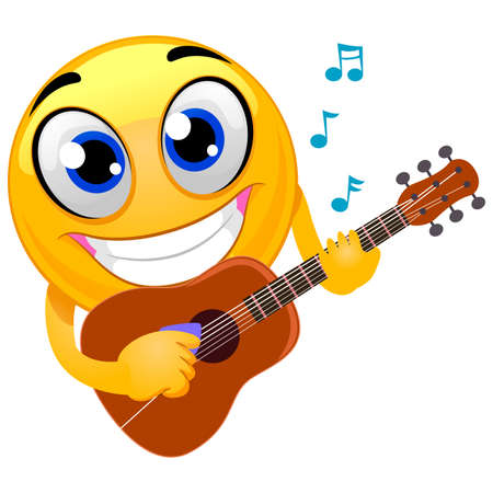 Vector Illustration of Smiley Emoticon playing Guitar