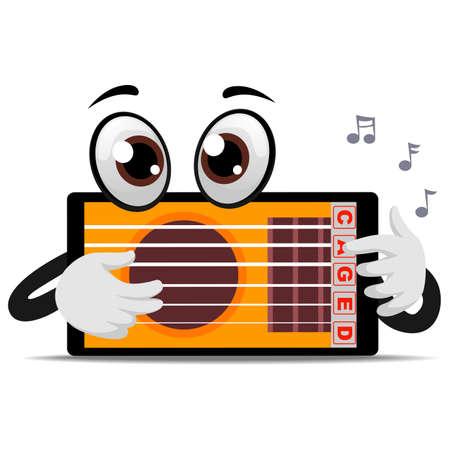 Vector Illustration of Tablet Mascot playing Guitar Application Illustration