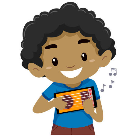 Vector Illustration of Kid holding and playing a mobile guitar application