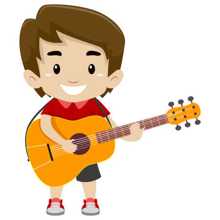 Vector Illustration of Kid Holding and Playing a Guitar Illustration