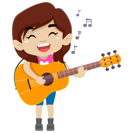 Vector Illustration of a Girl Holding and Playing a Guitar