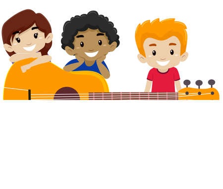 Vector Illustration of a Guitar with Kids Behind