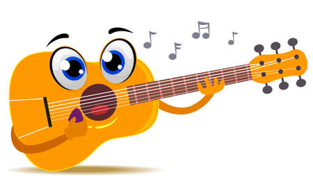 Vector Illustration of Acoustic Guitar Mascot playing itself