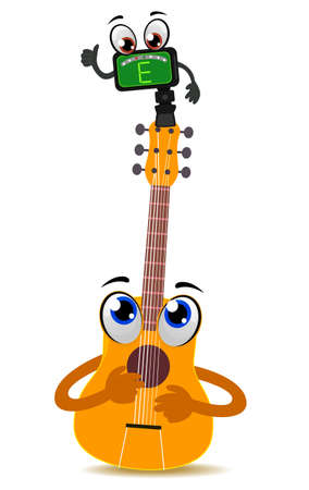 Vector Illustration of Acoustic Guitar Mascot with Tuner