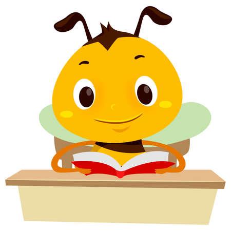 テーブルの上で本を読むミツバチのベクトルイラスト