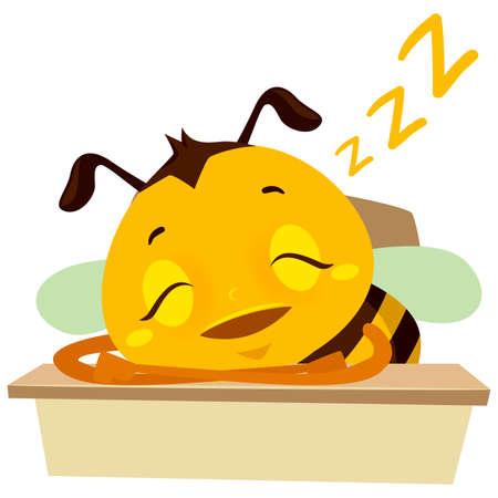 テーブルの上で眠っているミツバチのベクトルイラスト  イラスト・ベクター素材