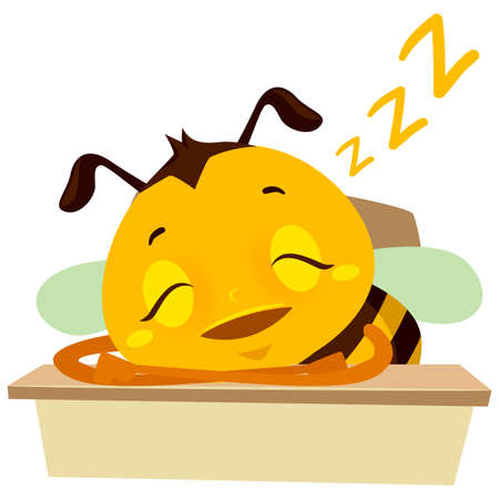 Vector Illustration of Bee Sleeping on the table