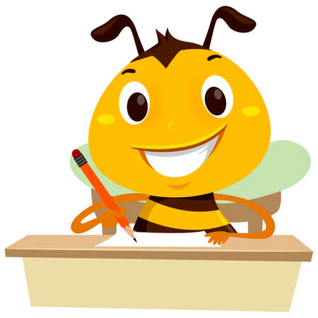 Vector Illustration of Bee writing on a piece of paper on the table