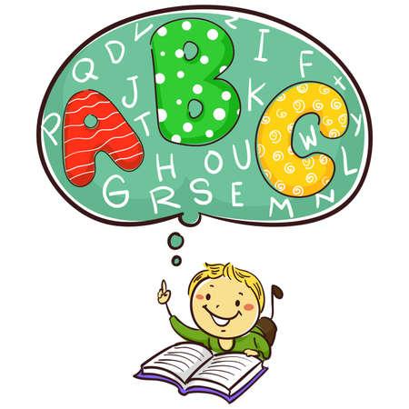 ABCアルファベットに関する少年読書本のベクトルイラスト