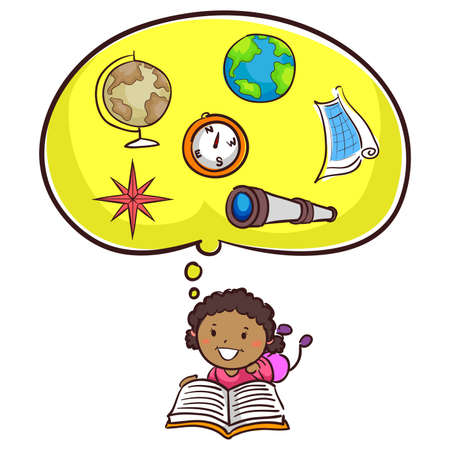 Vector Illustration of Little Kid Girl Reading Book about Geography