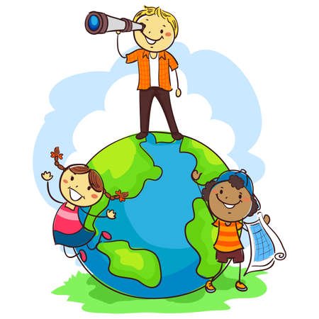 Vector Illustration of Three Stick Kids Standing at the top of the world
