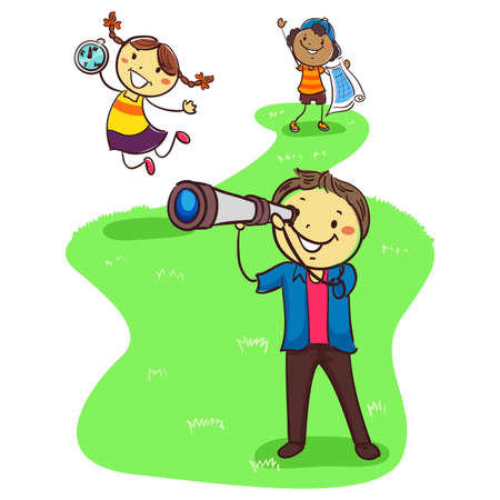 Vector Illustration of Three Stick Kids Exploring while holding Geographic Objects