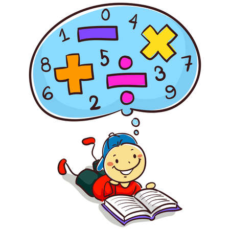 Vector Illustration of Kid Boy Reading Book about Mathematics Çizim