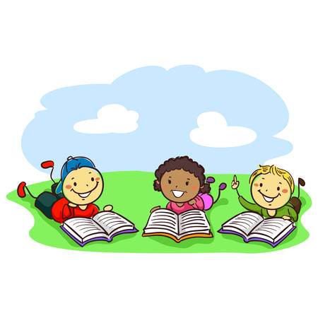 Vector Illustration of Stick Kids Reading Books while lying on the field