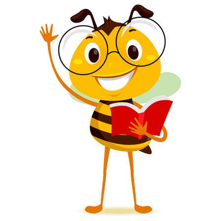 手を上げながら本を持つミツバチ学生のベクトルイラスト
