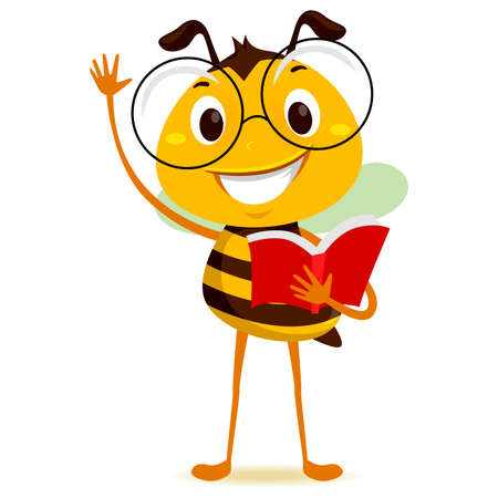 Vector Illustration of Bee Student Holding a Book while Raising his hand Ilustração