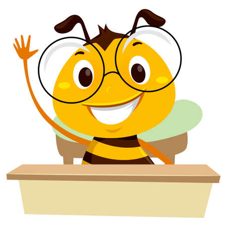 教室に座りながら手を振る蜂のベクトルイラスト