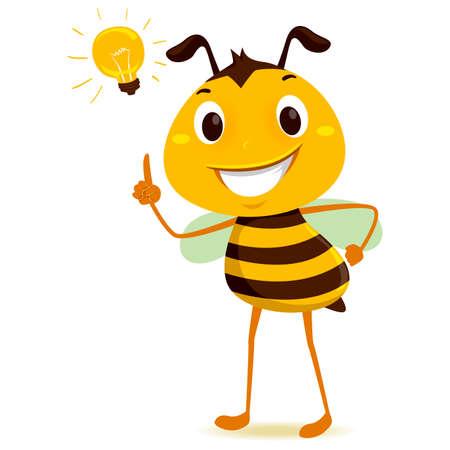 頭に電球を持つミツバチのベクトルイラスト  イラスト・ベクター素材