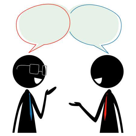 頭の上にスピーチバブルで話す2本のスティックフィギュアシルエットビジネスマンのベクトルイラスト  イラスト・ベクター素材