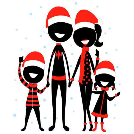 クリスマスコスチュームを着たスティックフィギュアシルエット家族アイコンのベクトルイラスト  イラスト・ベクター素材