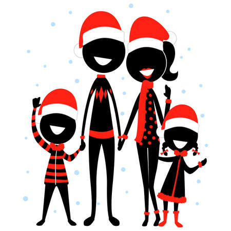 Vector Illustration of Stick Figure Silhouette Family Icon wearing Christmas Costume