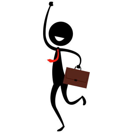 Vector Illustration of Stick Figure Silhouette on a Happy Man holding a suitcase