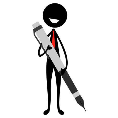 Vector Illustration of Stick Figure Silhouette Man Holding a Large Pen Illustration