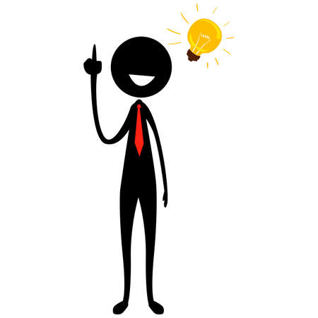 Vector Illustration of Stick Figure Silhouette Businessman with Light Bulb Idea