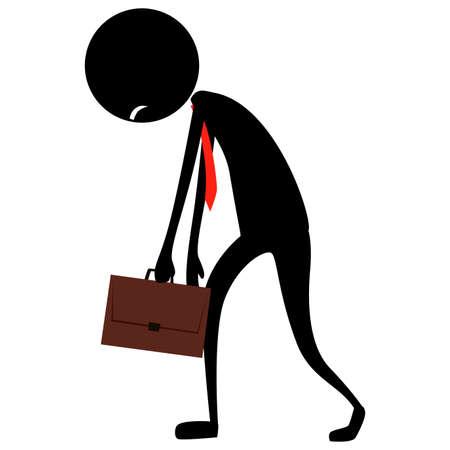 疲れを感じるビジネスマンシルエットのイラスト