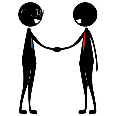 Illustration of Two Businessman Silhouette in Hand Shake Gesture