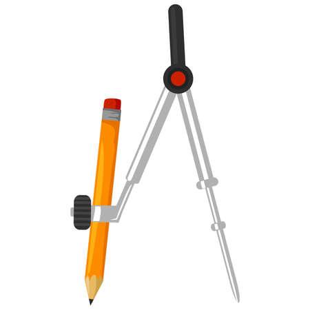 鉛筆でコンパスのベクトルイラスト