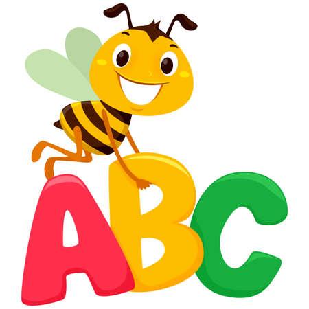 ABC文字を持つミツバチのベクトルイラスト