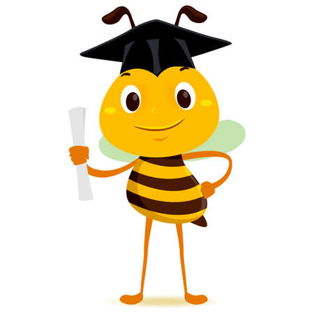 Vector Illustration of Bee holding a diploma while wearing Graduation Hat