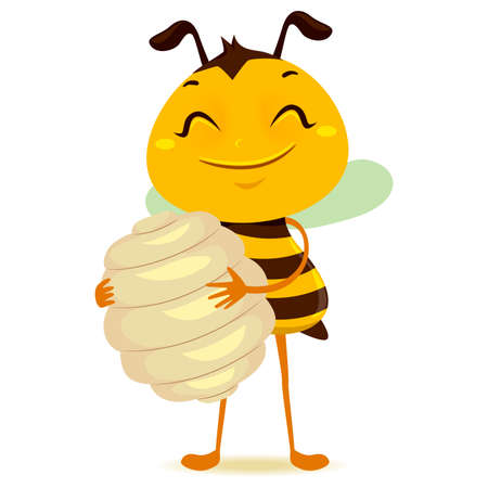 Vector Illustration of Bee holding a Beehive