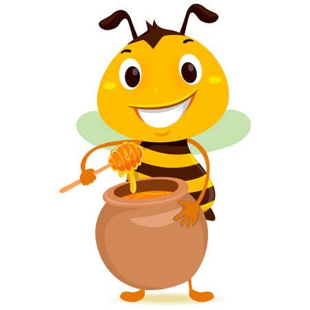 Vector Illustration of Bee holding a Jar of Honey Illustration