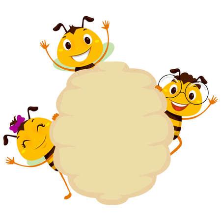 ブランクボードミツバチフレーム上のミツバチのベクトルイラスト