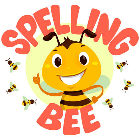 Vector Illustration of Bee with Spelling Bee word Çizim