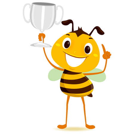 Vector Illustration of Bee holding a Silver Trophy