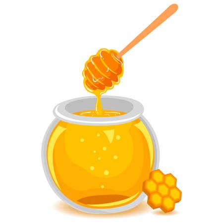 ハニカム付きガラス瓶の蜂蜜のベクトルイラスト  イラスト・ベクター素材