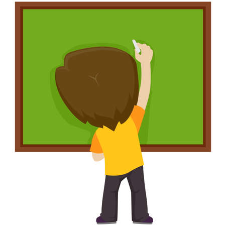 Vector Illustration of a Kid Boy writing on the blank board Illustration